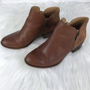 Lucky Brand 2 Tone Leather Ankle Boots Embossed